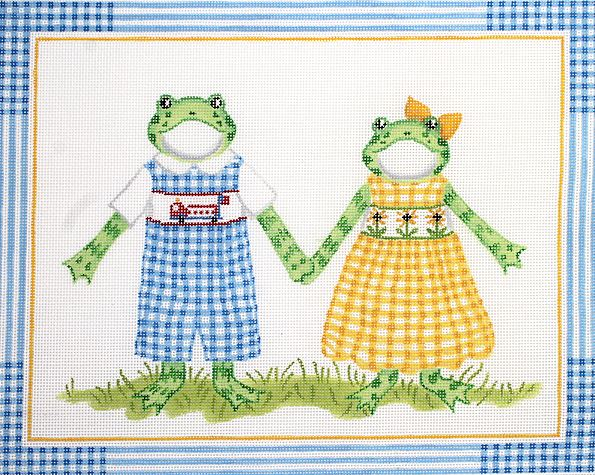 click here to view larger image of Boy Frog in Blue Gingham and Girl Frog in Yellow Gingham (hand painted canvases)