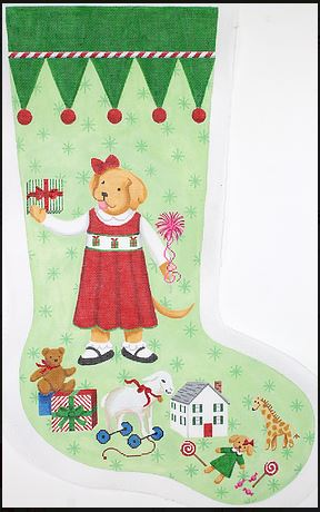 click here to view larger image of Yellow Dog Girl in Red Dress (hand painted canvases)