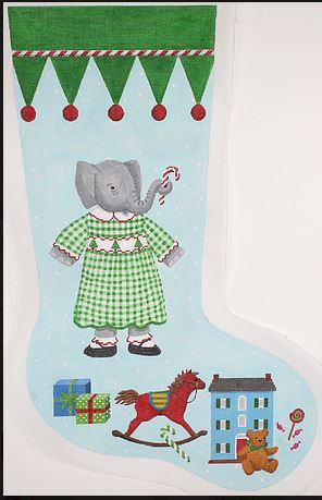 click here to view larger image of Elephant Girl in Green Checked Dress (hand painted canvases)