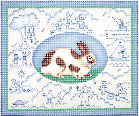 click here to view larger image of Bunny Toile - Blues (hand painted canvases)