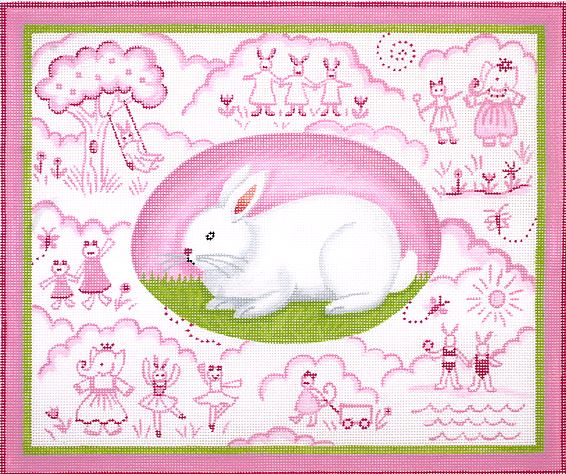 click here to view larger image of Bunny Toile - Pinks (hand painted canvases)