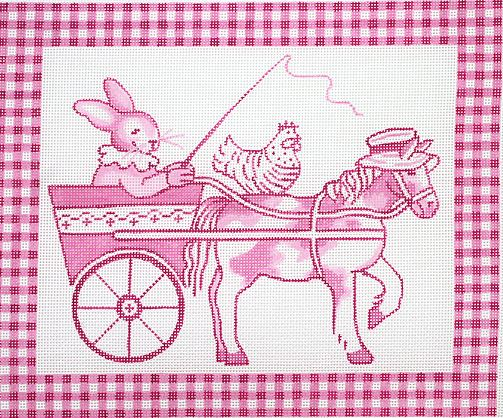 click here to view larger image of Bunny in Cart with Horse & Hen - Pink Toile  (hand painted canvases)