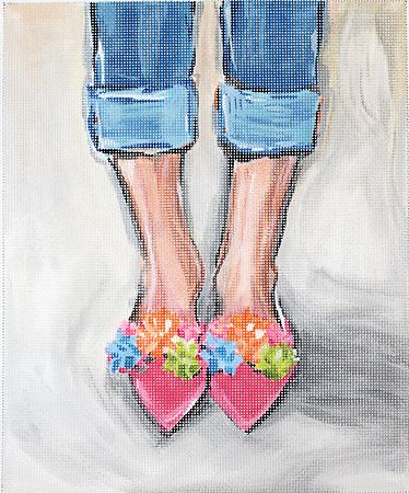 click here to view larger image of Pom Pom Shoes (hand painted canvases)