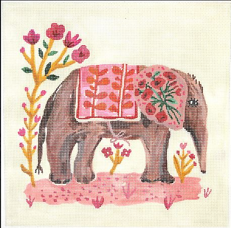 click here to view larger image of Elephant with Pink Blanket (hand painted canvases)