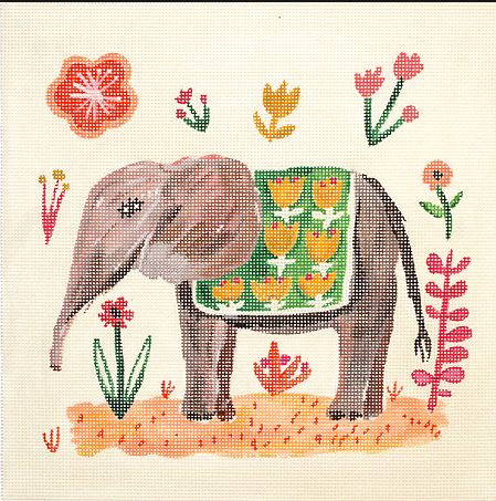 click here to view larger image of Elephant with Green Blanket (hand painted canvases)