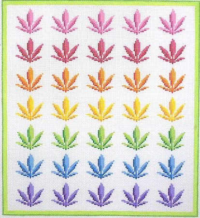 click here to view larger image of Rainbow Weed  (hand painted canvases 2)