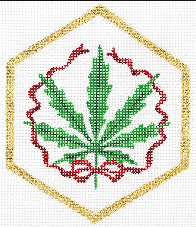 click here to view larger image of Weed Ornament  (hand painted canvases)