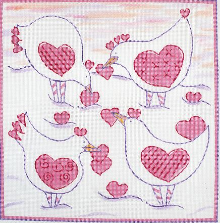 click here to view larger image of Sunrise Snow Birds with Valentines (hand painted canvases)