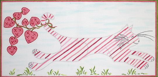 click here to view larger image of Kitty Running Through Grass with Hearts (hand painted canvases)