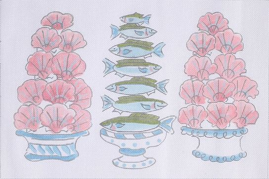 click here to view larger image of Scallops & Bluefish  (hand painted canvases)