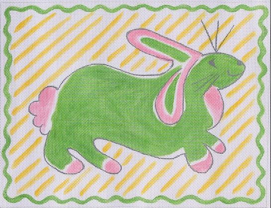 click here to view larger image of Rabbit - Pink & Green on Yellow Stripes  (hand painted canvases)