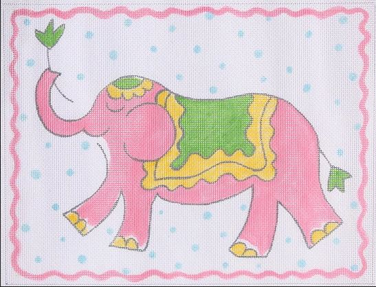 click here to view larger image of Elephant - Pink, Yellow & Green on Blue Dots (hand painted canvases)