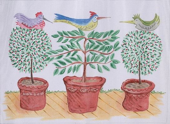 click here to view larger image of Three Birds in Topiaries  (hand painted canvases)