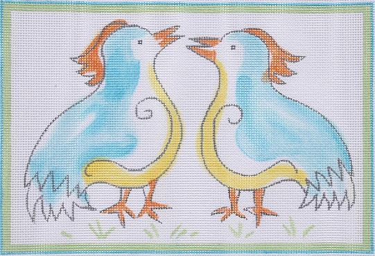 click here to view larger image of Two Chatty Birds  (hand painted canvases)