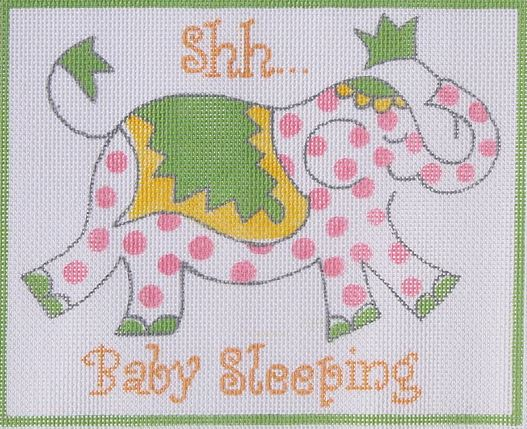 click here to view larger image of Shh Baby Sleeping - Pink Elephant  (hand painted canvases)
