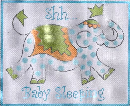 click here to view larger image of Shh Baby Sleeping - Blue Elephant  (hand painted canvases)