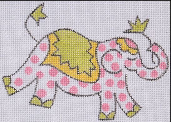 click here to view larger image of Mini Elephant - Pink Polka Dots  (hand painted canvases)