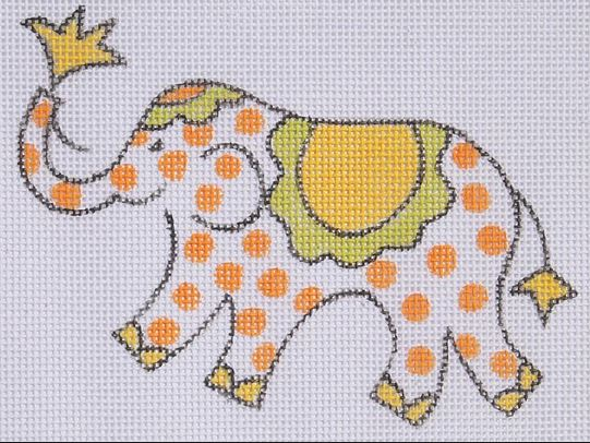 click here to view larger image of Mini Elephant - Orange Polka Dots  (hand painted canvases)