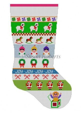 click here to view larger image of Caroler Stripe Stocking (hand painted canvases)