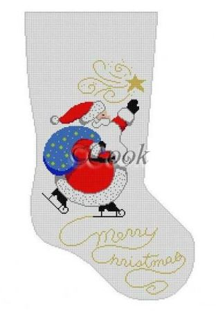 click here to view larger image of Skating Santa Stocking (hand painted canvases)