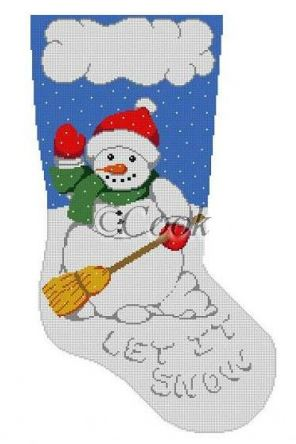 click here to view larger image of Let It Snow Stocking (hand painted canvases)