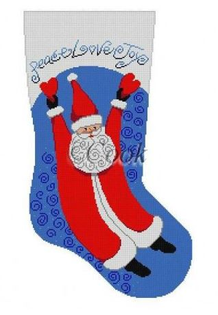 click here to view larger image of Soaring Santa with Hearts Stocking - Blue (hand painted canvases)