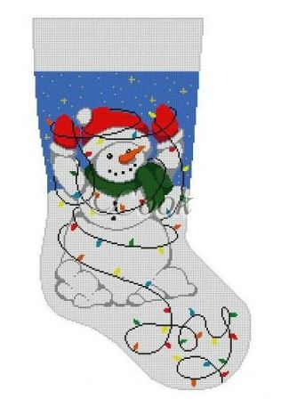 click here to view larger image of Snowman Tangled In Lights Stocking (hand painted canvases)