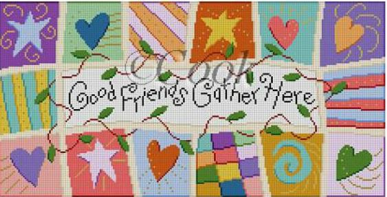 click here to view larger image of Good Friends Gather Here (hand painted canvases)