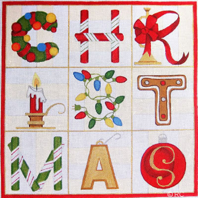click here to view larger image of Christmas Squares (hand painted canvases)