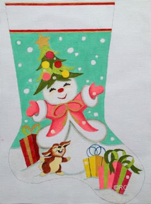 click here to view larger image of Snowlady Stocking (hand painted canvases)