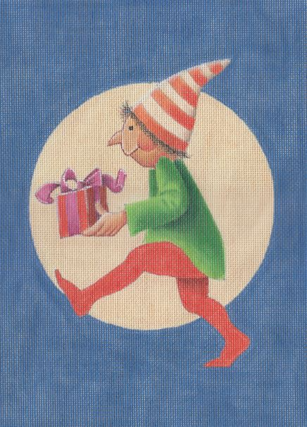 click here to view larger image of Elf w/Present - 18M (hand painted canvases)