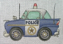 click here to view larger image of Vintage Police Car (hand painted canvases)