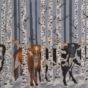 click here to view larger image of Birch Longhorns (hand painted canvases)