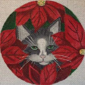 click here to view larger image of Poinsettia Cat Stitch Guide (hand painted canvases)