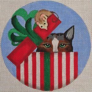 click here to view larger image of Striped Gift Box Cat Stitch Guide (hand painted canvases)