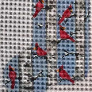 click here to view larger image of Birch Cardinals Mini Sock (hand painted canvases)