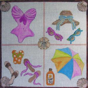 click here to view larger image of Beach Essentials (hand painted canvases)