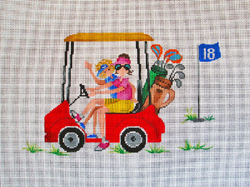 click here to view larger image of Golf Cart and Gals (hand painted canvases)