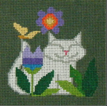 click here to view larger image of Garden Cat Square (hand painted canvases)