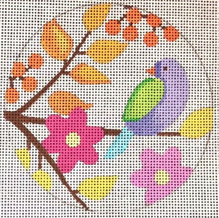 click here to view larger image of Birds & Blooms Ornament - Violet Bird (hand painted canvases)