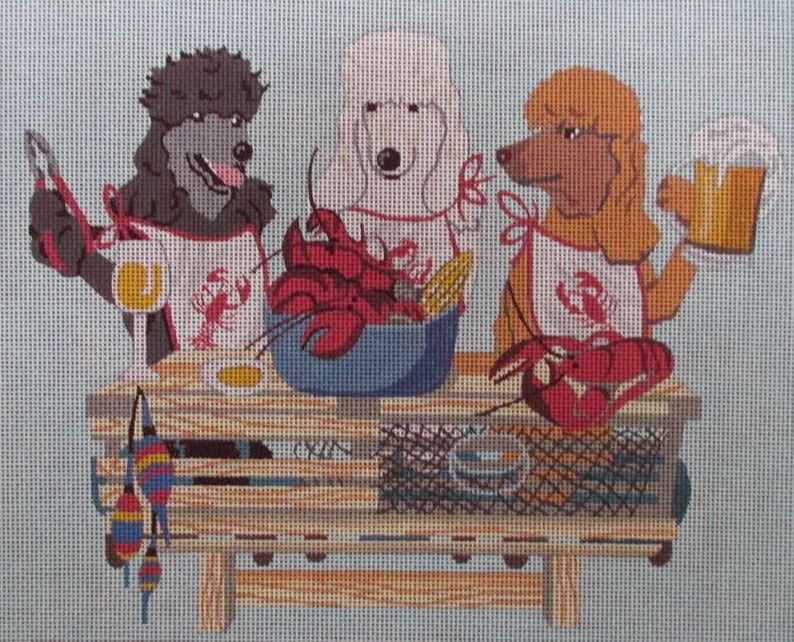 click here to view larger image of Paws for Claws Poodles (hand painted canvases)