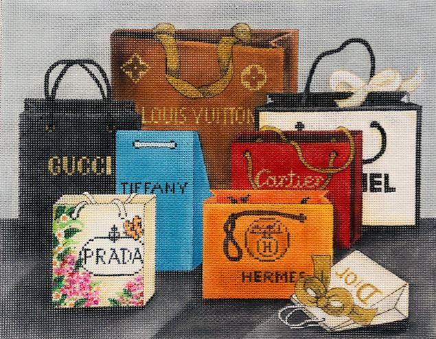 click here to view larger image of Designer Shopping Bags (hand painted canvases)