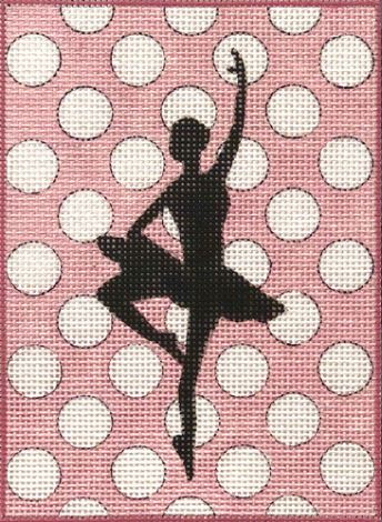 click here to view larger image of Ballerina Silhouette on Polka Dots (hand painted canvases)