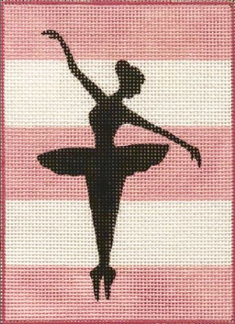 click here to view larger image of Ballerina Silhouette on Stripes (hand painted canvases)