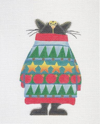 click here to view larger image of Cat in a Big Festive Sweater Ornament (hand painted canvases)