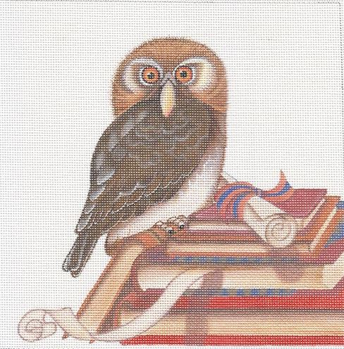 click here to view larger image of Owl on Books (hand painted canvases)