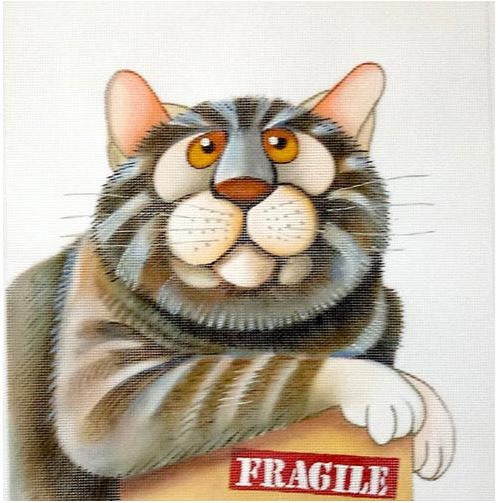click here to view larger image of Fragile Cat - 18M (hand painted canvases)