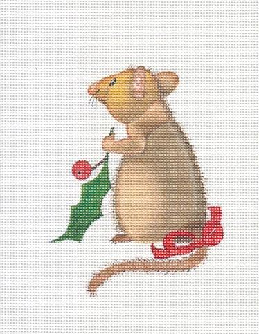 click here to view larger image of Mouse with Holly (hand painted canvases)