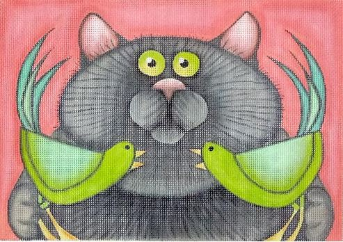 click here to view larger image of Gray Cat with 2 Green Birds (hand painted canvases)