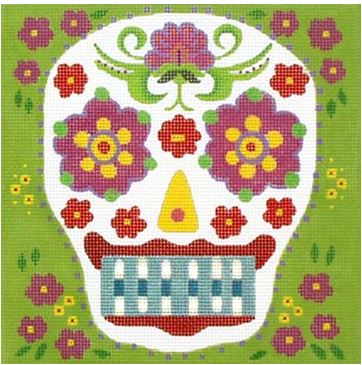 click here to view larger image of Blue Tooth Sugar Skull (hand painted canvases)